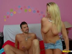 Sweetheart controls dudes cock with cowgirl riding