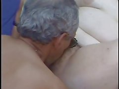 Chubby girl masturbating and fucking by two old in outdoors