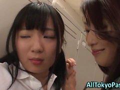Asian lesbian strapon sex