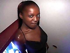 Freaky black girl Latoya takes on stragers at the gloryhole