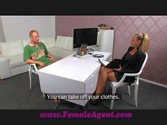 FemaleAgent Nervous stud caught in agents web