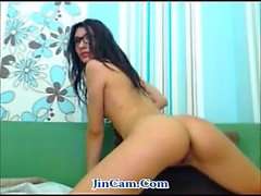 Smoking girl masturbates with toys webcam show