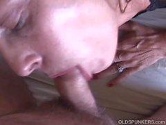 Sexy slim old spunker masturbates & fucks the cameraman