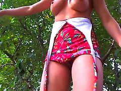 Racquel cute brunette babe fingering pussy outdoor