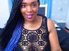 Hot ebony with big boobs on webcam