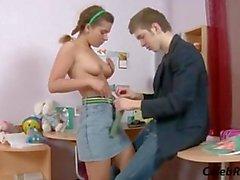 Russian curly haired teen Amanda aka Lara in anal scene