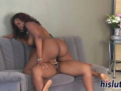 Two horny ebony bitches bang each other