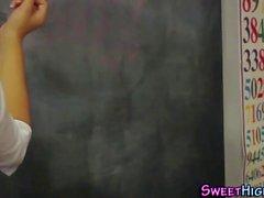 Classroom teen cum spray