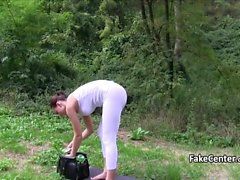 Slut got money to be fucked and creampied outdoors