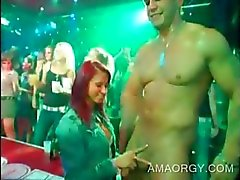 Two party babes banged by CFNM orgy strippers