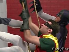 Mean blonde hottie gets pounded in all fours by Battman