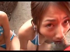 Japan Bikini Girls Share Dick On A Beach