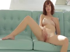 Glass toy in shaved pink cunt