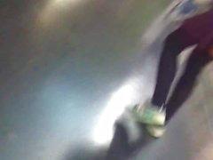 nice upskirt at the end escalator