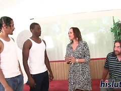 Interracial threesome session with a horny housewife