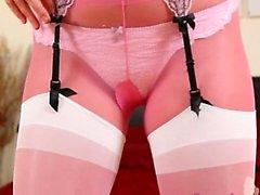 Sexy pink nylon panties and hot babe