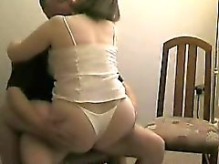 Naughty wife blows her husband's dick and then rides it wit