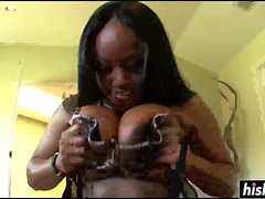 Busty black chick gets drilled in POV