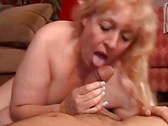 Beautiful mature BBW babe Anne enjoys a facial cum