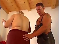 Fat, Ugly, Blonde Granny Takes Young Cock