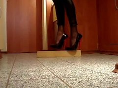 Bending and playing with 6 inch high heels Ellie pumps