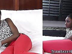 Ebony teen spunked over