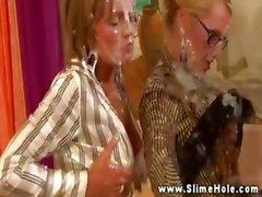 Strapon trio spraying bukkake during their hot session