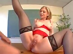 Dirty student fucking his blond teacher
