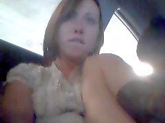 public garage girl almost gets caught masturbating in car