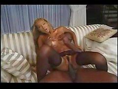 Black massive dong feeding blond Asian