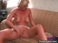 Brooke Smokes And Rubs Her twat part4