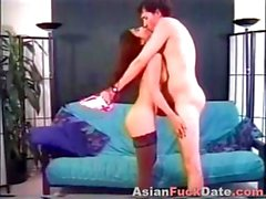 Petite Asian cutie with red hair gets her mouth shot with sperm
