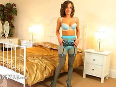 Blue nylons and fashionable pantyhose