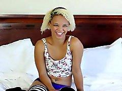 Blonde ebony teen posing