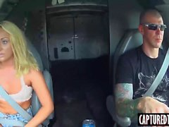 Keely Jones gets a free ride and messy facial in the van