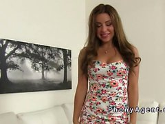 Russian amateur beauty bangs in casting