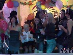 Sexy Damen bekommen verworren auf einer Party