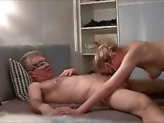 Blonde milf wife is passionately blowing my cock on cam