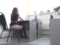 Hidden cam. REAL job interview turns to naked show for boss