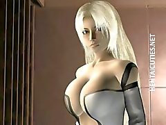 Blondie 3D hentai babe Laat tieten