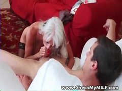 Check My busty MILF granny in stocking riding young cock