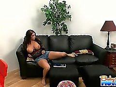 Sexy brunette babysitter Whitney Stevens with natural big