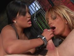 Salacious babes get a severe penetration in a close up shoot