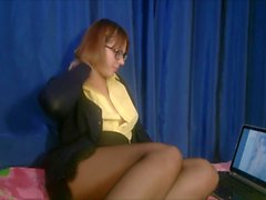 The teacher in torn stockings gets real orgasm while watching hentai (Full)