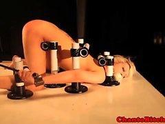 Bondage BDSM sub punished with machine