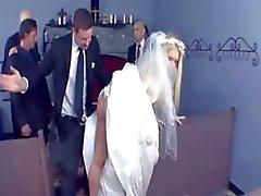 Blonde bride gets a little after wedding sex with groomsmen