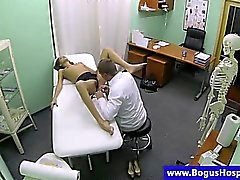 Fake doctor inspecting babes pussy