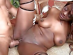 Booty ebony chick get a white rod in the all poses