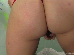 Teen pornstar Krierstin Koyote masturbates and sucks cock