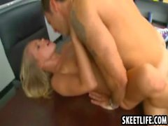 Teacher eats out his hot blonde students pussy
